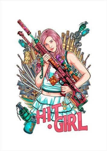 Hitgirl White Dlo, Black colour, X-Large A1 24x36Inch size - From £17.50 | Metal Plate Pictures