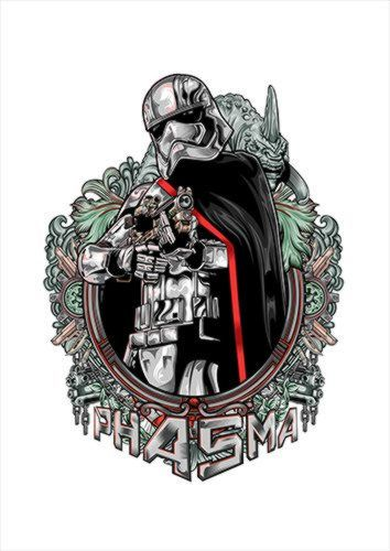 PHASMA V2 White Dlo, Black colour, X-Large A1 24x36Inch size - From £17.50 | Metal Plate Pictures
