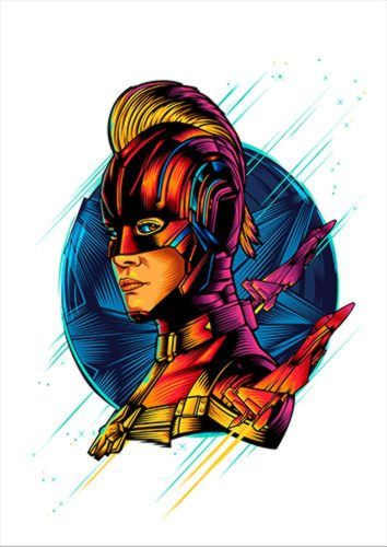 Captain Marvel Brie Larson White Dlo, Black colour, X-Large A1 24x36Inch size - From £17.50 | Metal Plate Pictures
