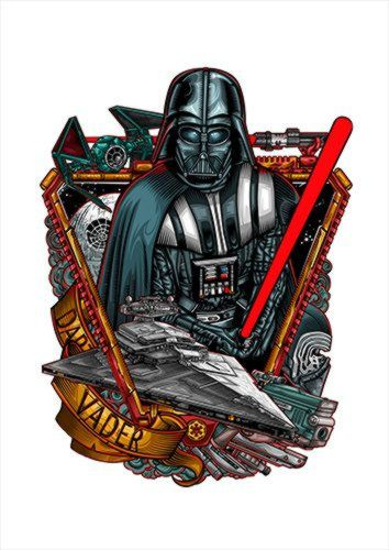 Darth Vader White Dlo, Black colour, X-Large A1 24x36Inch size - From £17.50 | Metal Plate Pictures
