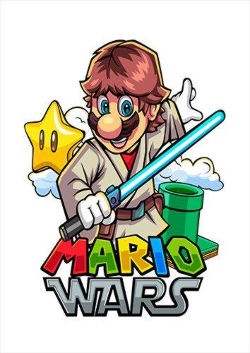 Mario Wars Skywalker White Dlo, Black colour, X-Large A1 24x36Inch size - From £17.50   Metal Plate Pictures