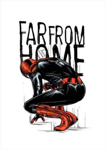 Spidey Far From Home Color White Dlo, Black colour, X-Large A1 24x36Inch size - From £17.50 | Metal Plate Pictures