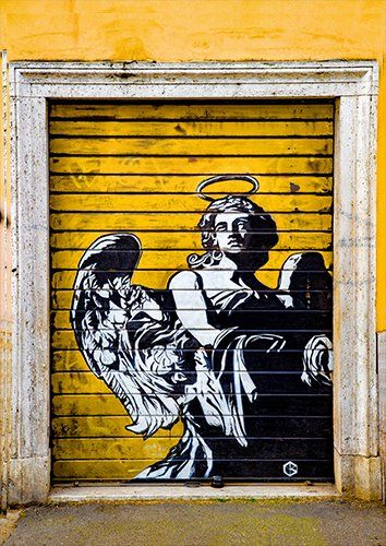 Angel in the door grafitti street art, Black colour - From £17.50 | Metal Plate Pictures