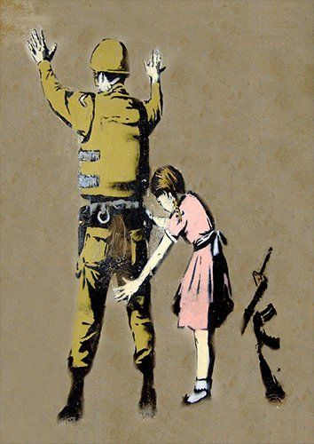 Banksy army girl search, Black colour - From £17.50 | Metal Plate Pictures