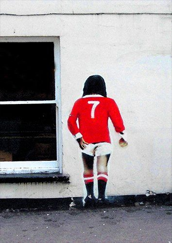 Banksy george best, Black colour - From £17.50 | Metal Plate Pictures