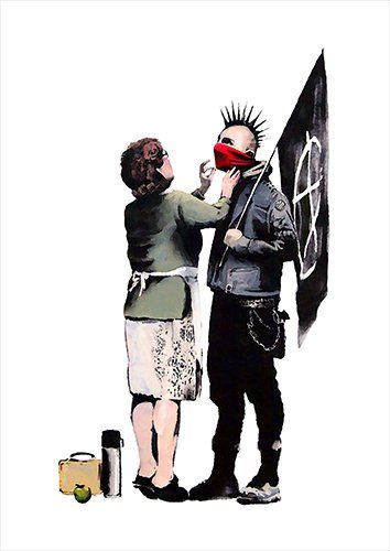 Banksy punk mum, Black colour - From £17.50 | Metal Plate Pictures