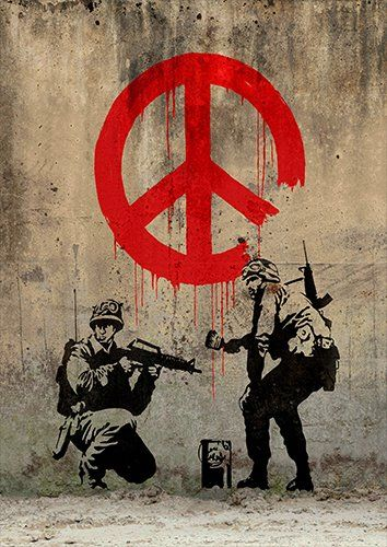 Banksy solders peace, Black colour - From £17.50 | Metal Plate Pictures