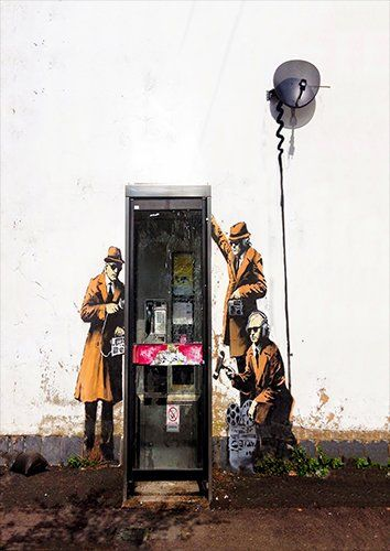 Banksy spies, Black colour - From £17.50 | Metal Plate Pictures