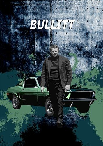 Bullitt car, Black colour - From £17.50 | Metal Plate Pictures
