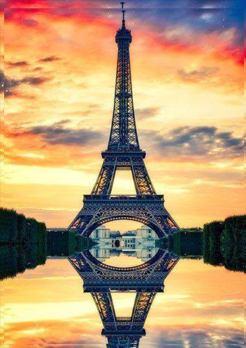 Eiffel tower paris dusk, Black colour - From £17.50 | Metal Plate Pictures