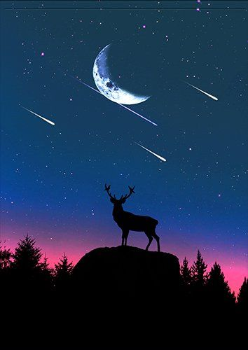Stag and the moon silhouette, Black colour - From £17.50 | Metal Plate Pictures