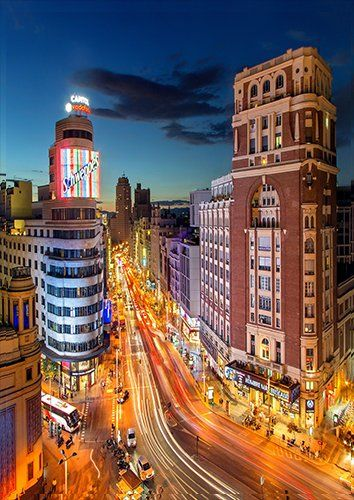 Madrid Plaza Del Callao Spain Gran Vía City places, Black colour - From £17.50 | Metal Plate Pictures