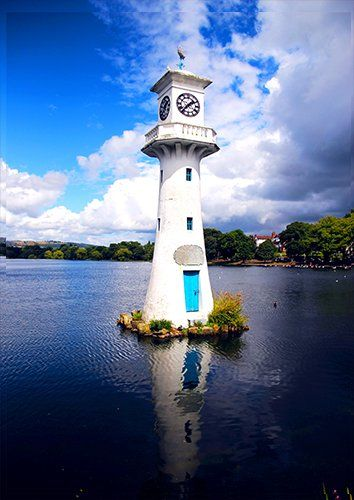 Lighthouse Lake Sky Great Landscape Coast, Black colour - From £17.50 | Metal Plate Pictures