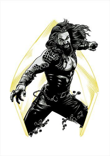 Aquaman White, Black colour - From £17.50 | Metal Plate Pictures