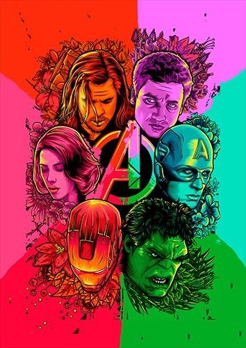 Avengers All Colour, Black colour - From £17.50 | Metal Plate Pictures