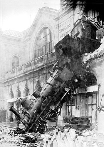 Train wreck trains, Black colour - From £17.50   Metal Plate Pictures