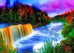 Woodland Plants Colorful Waterfall