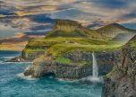 Coast waterfall Into the sea