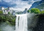 Fantasy lost city waterfall