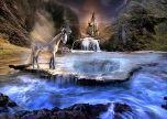 Unicorn waterfall fantasy