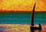 Boat on the lake sailing art Creative Paint