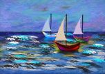 Boats sailing in the sea Digital painting