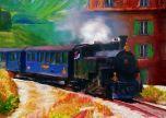 Train steam locomotive art painting