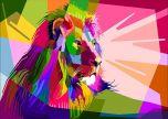 Colorful Decoration Lion Design Geometry