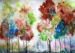 Trees colourful drawing