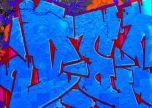 Blue graffiti tag