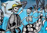 Graffiti bones dancing street art