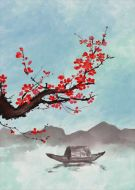 Flowers Red Painting Ink Wind And Boat On The Lake Blue Sky