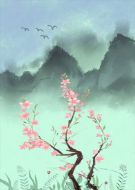 Flower Painting Chinese Style Pink Green Blue
