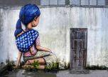 Girl and child street art