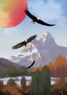 Eagles Flying Hunting Mountains