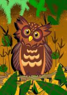 Owl On A Perch Brown