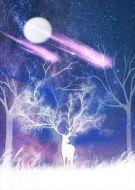 Deer Starry Night Mystical