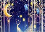 Night Deer Enchanted Woods Stars Moon Jellyfish