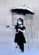 Raining The Wrong Way Girl Graffiti Street Art Banksy