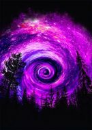 Space Into The Woods Purple Fantasy