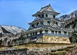 Fujihashi Castle Japan Historic Landmark Hdr