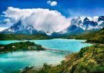 Chile mountains lake bridge