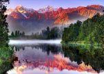 Mountains lake sunrise