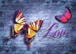 Butterfly typo text purple love
