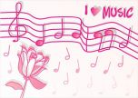 Musical notes pink love