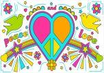 Peace and love retro love