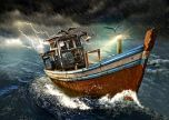 Old boat in storm