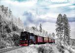 Steam train in the winter