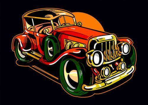 Classic Car, Sandy\Brown\Blue\Mix colour, X-Large A1 24x36Inch size - From £17.50   Metal Plate Pictures