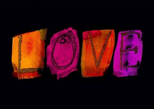 Colourful words love - From £17.50 | Metal Plate Pictures